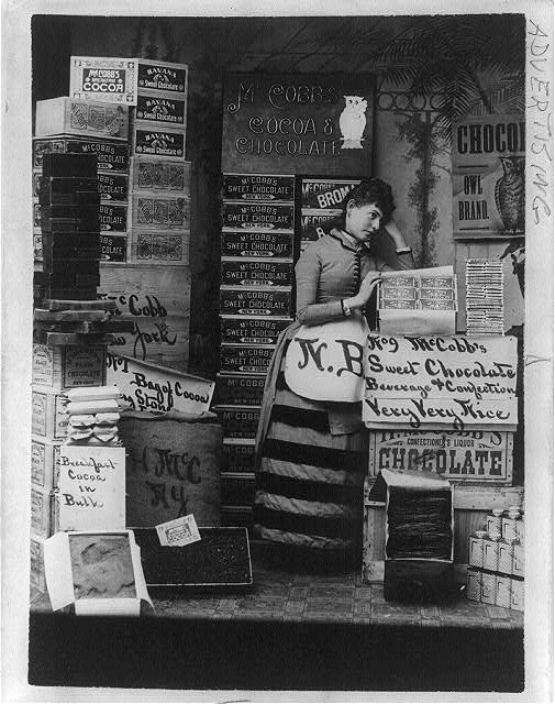 An 1886 advertisement for McCobb's cocoa and chocolate, from the Library of Congress website.