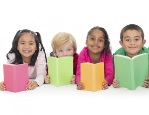 Group of kids reading books with white background