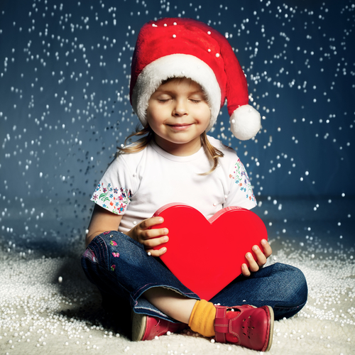 Girl with santa hat - the gift