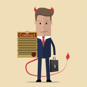 A devil in business clothes represents a tempting offer to write for essay mills